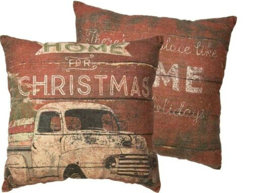 Primitive`Country  Red `Pillow with Truck and Christmas Tree`Home For Christmas`
