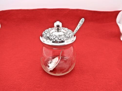 S. KIRK & SON 20F REPOUSSE STERLING SILVER ETCHED GLASS JELLY JAR W/SPOON,CLEAN