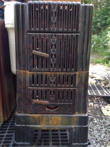 VINTAGE ANTIQUE SEARS WOOD BURNING HEATER DOUBLE CHAMBER MODEL 102.8751