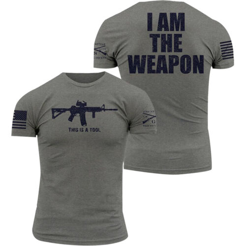 Grunt Style I Am The Weapon Crewneck T-Shirt - Gray <br/> Exclusive Seller of Grunt Style on eBay
