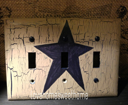 Primitive Crackle Tan & Navy Blue Star Triple Light Switch Wall Plate