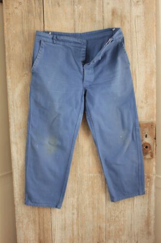 Vintage French work pants denim utilitarian old chore trousers 34 inch waist