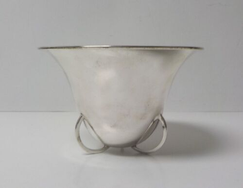 Mid-Century Mexico Sterling Silver Deep Bowl, Loops on Base, 285 grams