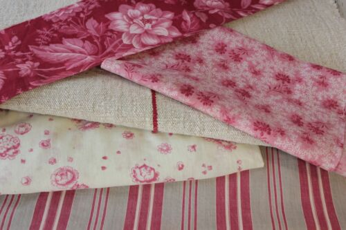 Antique French fabric vintage material  PROJECT faded pink red cutting pack