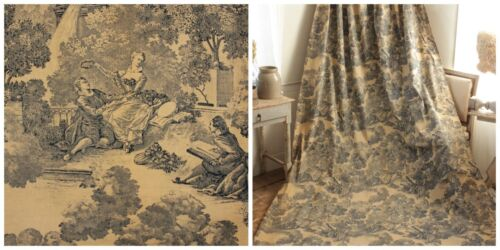 Curtain Vintage Toile de Jouy French 1950's blue fabric material (ONE OF SET)