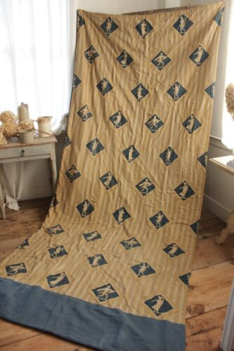 Vintage French curtain drape 1920s toile design blue gold Charming ~