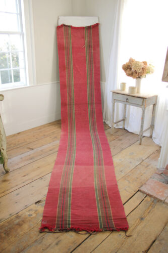 RAG RUG Vintage European long stair runner striped red hallway carpet