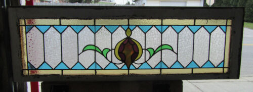 ~ COLORFUL ANTIQUE STAINED GLASS TRANSOM WINDOW ~ 48.5 X 15.5 ~ SALVAGE