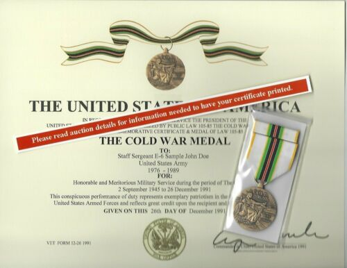 FULL SIZE COLD WAR VICTORY MEDAL/RIBBON & CERTIFICATE US ARMY USN USAF USMC USCG