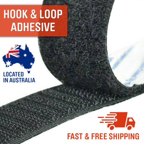 Self Adhesive HOOK and LOOP Fastener Tape Sticky Back Black or White Fastening  <br/> Same Day Dispatch from Metro Australia Hook & Loop Tape