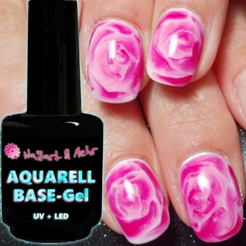 N+M AQUARELL-BASE-FLOWERS-GEL transparent 10ml-Pinselflasche UV + LED - Made in