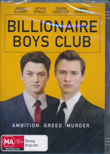 Billionaire Boys Club DVD NEW Region 4 Ansel Elgort Kevin Spacey Taron Egerton