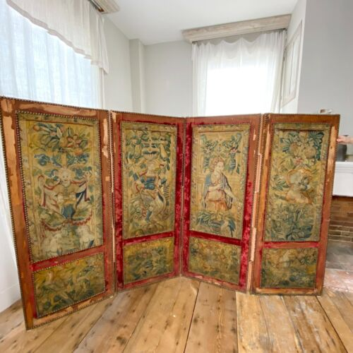 Antique Tapestry Folding Room Screen Early 18th Century French Velvet 8 Scenes