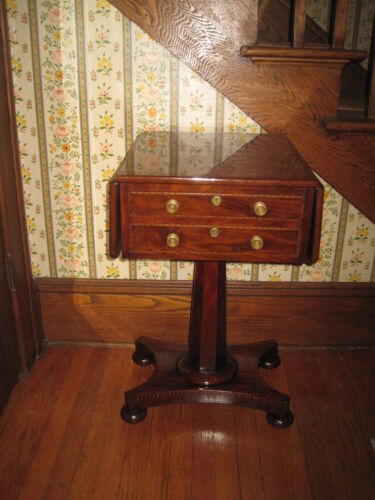Antique End/Side Table Inlaid Walnut Drop Leaf Table All Four Sides Finished