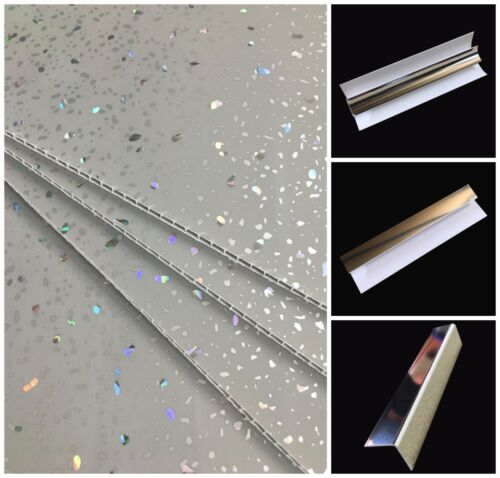 Grey Sparkle Wall Panels & Bathroom Trims Shower Wet Wall Cladding PVC Ceiling <br/> Rapid Delivery - Stunning Panels - Class 1 Fire Rated