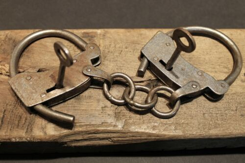 Antique Vintage Style Wrought Iron Handmade Handcuffs Shackles