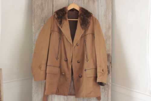 Coat or Jacket Vintage French canvas hunting faux fur men's heavy brown khaki
