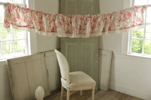 Ruffle or Valance Antique French printed cotton floral fabric w/ lace trim c1860