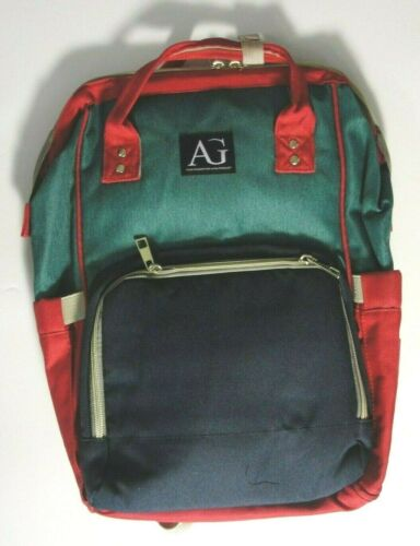 New AG Multi Function Baby Diaper Bag Backpack Organizer Red, Green & Navy
