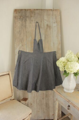 Apron Vintage French blue cotton with pockets handmade antique Country textile
