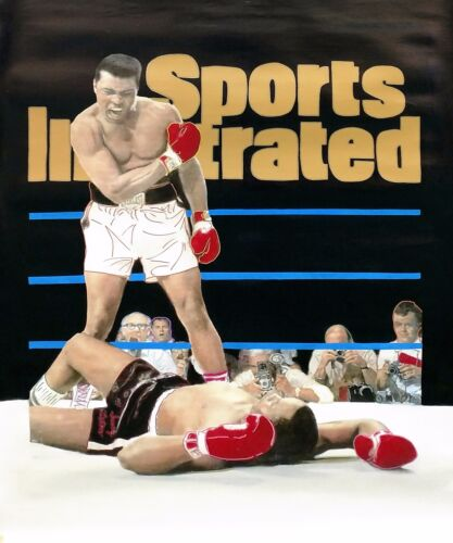 """STEVE KAUFMAN """"MUHAMMAD ALI- SPORTS ILLUSTRATED COVER""""   UNIQUE PAINTING 48X40"""""""
