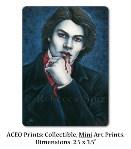 Vampire Gothic Art ACEO PRINT Victorian Handsome Blood Blue Red Portrait ATC
