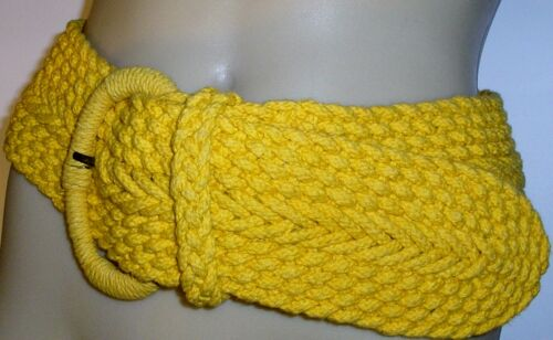 LADIES FASHION COLOUR WIDE WOVEN BELT 'YELLOW'