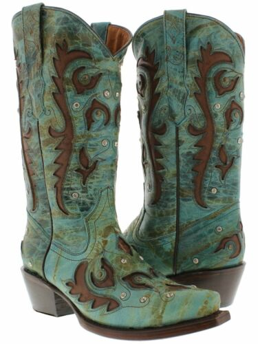 Womens Turquoise Inlay Western Cowgirl Boots Distressed Leather Snip Toe