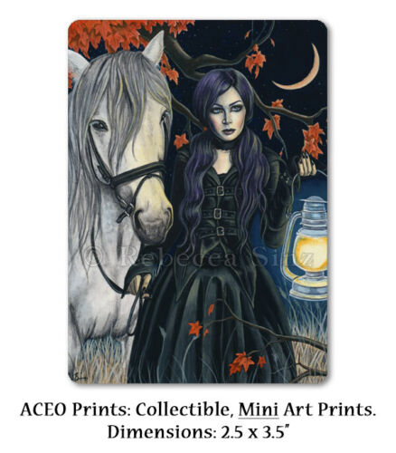 Gothic Fantasy Art ACEO PRINT Horse Woman Night Crescent Moon Autumn Witch