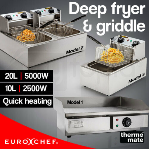 Electric Griddle Deep Fryer Commercial BBQ Grill Plate Single Twin Frying Cooker <br/> 20% OFF. Must use Checkout Code PILOT. Ends 24/7. TCs.