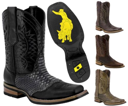 Mens Python Print Rodeo Cowboy Boots Genuine Leather Western Square Toe Botas