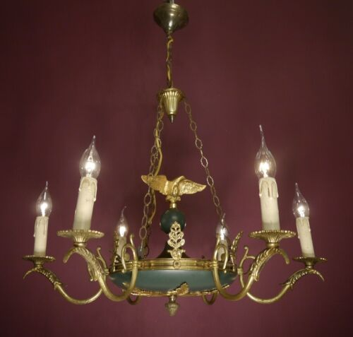 EAGLE 6 LIGHT BRASS FRENCH EMPIRE CHANDELIER GREEN VINTAGE CEILING LUSTRE USED