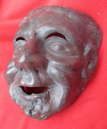 Mexican Folk Art Old Man Mask Formed From One Piece Of Leather ~ Guerrero