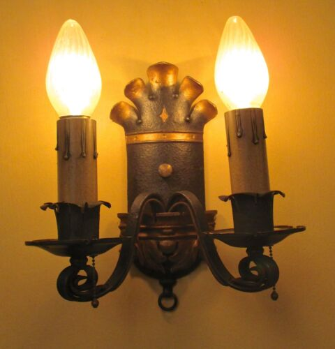Vintage Lighting pair antique 1920s Spanish Revival sconces by Ironcraft