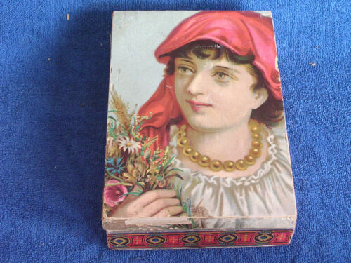 Antique Victorian Chromolitho Pretty Girl Paper Over Wood Hinged Lid Trinket Box