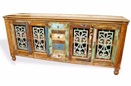 Reclaimed Indian Cabinet Sideboard TV Stand Wood W/ Wrought Iron.
