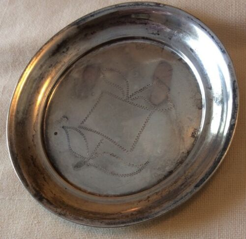 VINTAGE SILVER marked 800 coaster / butter pat with etched design 3 1/4""