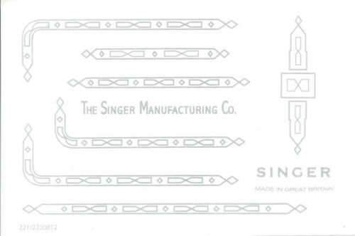 Singer Featherweight 221K  222 Sewing Machine Restoration Decals Silver 39592S
