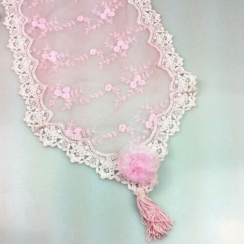 Elegant Shabby French Pink Embroidered Lace Rosebud Table Runner ~ 30 x 150cm ~