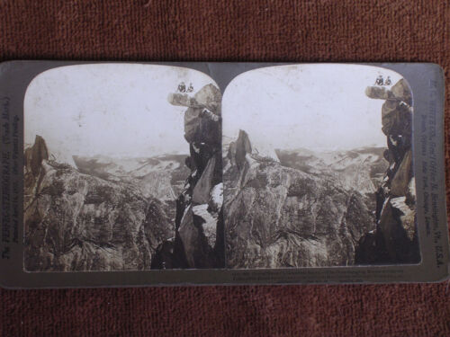 Yosemite Park CA/Glacier Point-People on Overhanging Rocks/H C White Stereoview