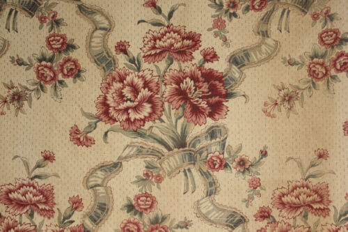 Linen Fabric floral design Vintage French printed upholstery weight 2.13 yards !