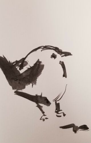 JOSE TRUJILLO SIGNED BIRD ABSTRACT EXPRESSIONISM INK WASH COLLECTIBLE 6X9