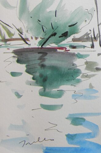 JOSE TRUJILLO Abstract Impressionism Watercolor Painting River Reflections Art