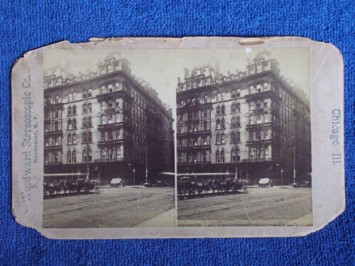 Chicago IL/Sherman House Hotel-Clark & Randolph Streets/Horses/Early Stereoview