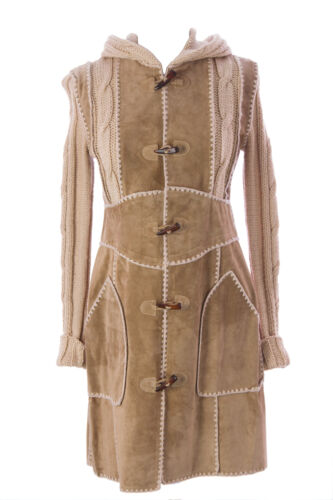 LUCIANO ABITBOUL Women's Beige Hooded Toggle Closure Suede Jacket Sz s NEW