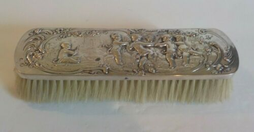 Storch & Sinsheimer Hanau .800 Silver Back Clothes Brush, Cherubs, c. 1890 (#2)