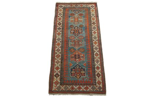 Antique 4X9 Caucasus Gallery Runner Hand Knotted Area Rug, circa 1900 (4 x 8.8)