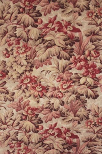 Antique French fabric floral design c1890 twill woven cotton 3.22 yards textile