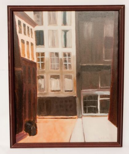 Paris Street by Edward Hopper Hand Painted Art Reproduction Signed L.O.Booth