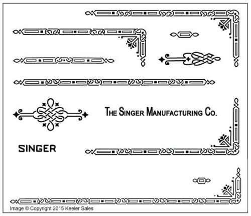 Singer Featherweight 221 Sewing Machine Early Style Restoration Decals Black